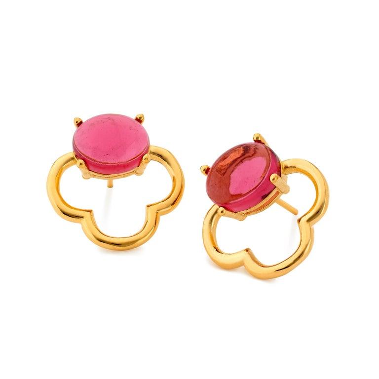 MAVIADA's 18k Vermeil Capri Rose Gold Pink Tourmaline quartz Stud Drop Earrings For Sale 8