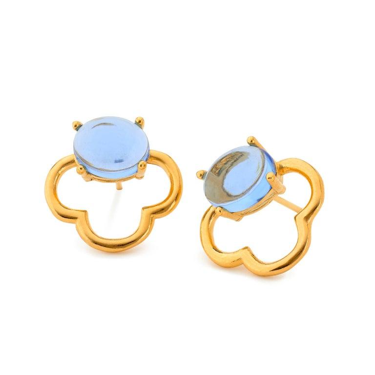 MAVIADA's 18k Vermeil Capri Rose Gold Pink Tourmaline quartz Stud Drop Earrings For Sale 9