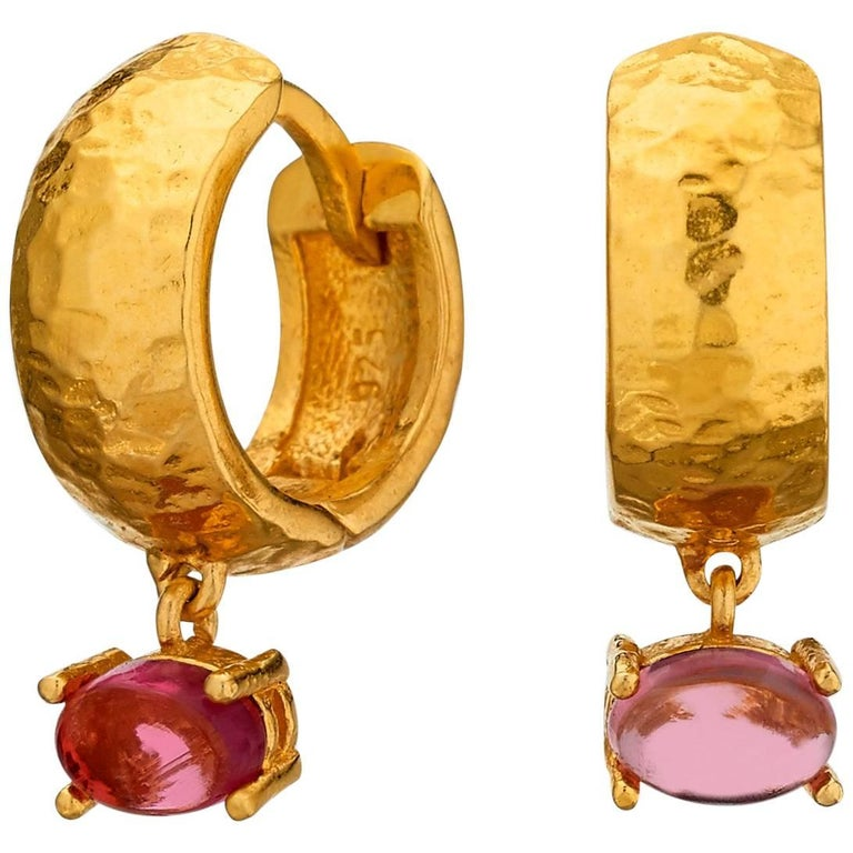 Maviada's 18 Karat Yellow Gold Vermeil Bastia Mini Pink Tourmaline Hoop Earring For Sale