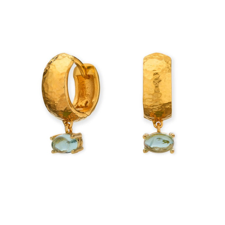 MAVIADA' s 18k Rose Gold Vermeil Bastia Mini Green Amethyst quartz Hoop Earring For Sale 5