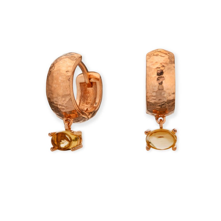 MAVIADA' s 18k Rose Gold Vermeil Bastia Mini Purple Amethyst Modern Hoop Earring For Sale 9