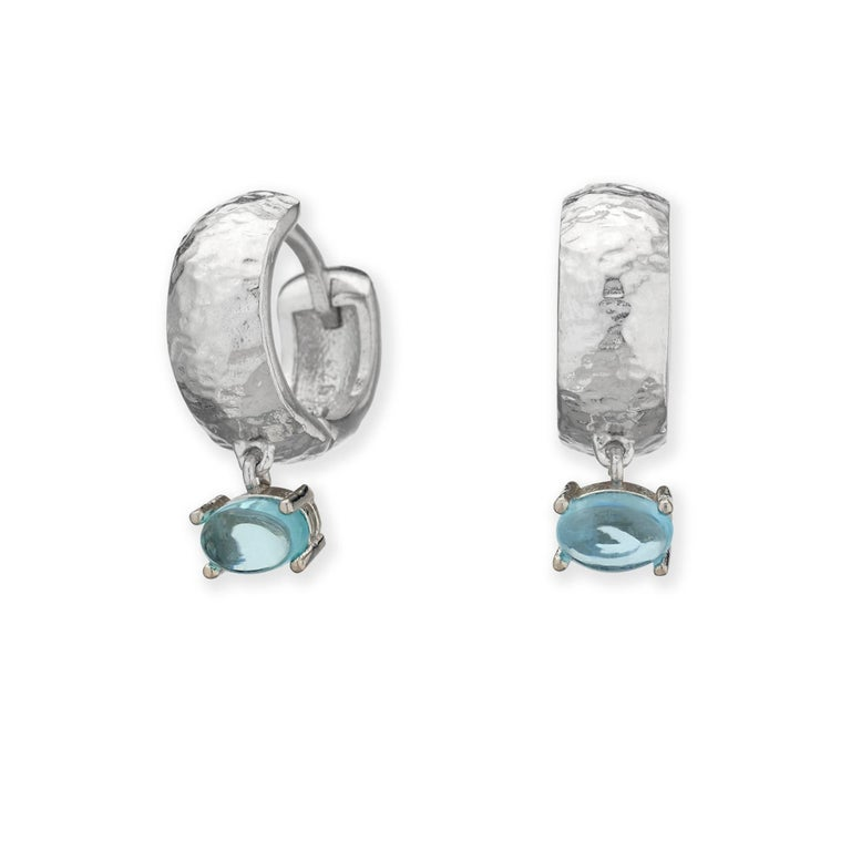 Maviada's 18 Karat Rose Gold Vermeil Bastia Mini Aqua Blue Quartz Hoop Earring For Sale 1