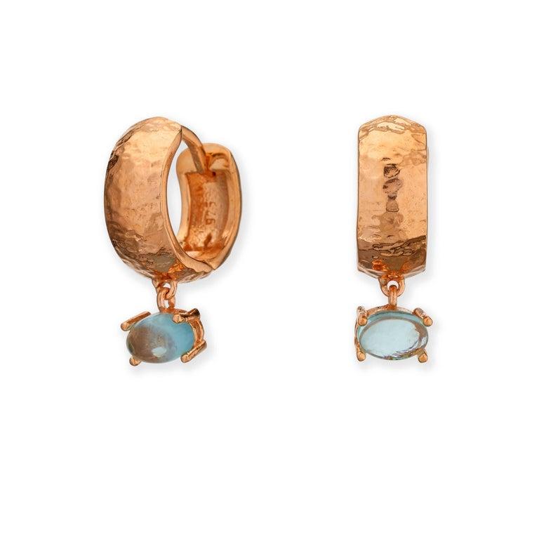 Maviada's 18 Karat Rose Gold Vermeil Bastia Mini Smoky Brown Quartz Hoop Earring For Sale 3