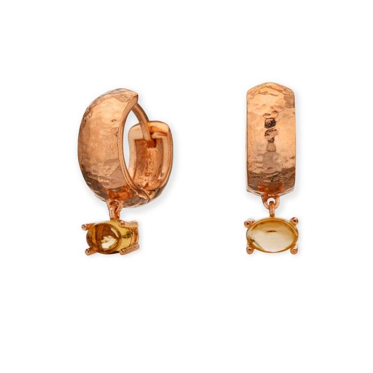 Maviada's 18 Karat Rose Gold Vermeil Bastia Mini Smoky Brown Quartz Hoop Earring For Sale 13