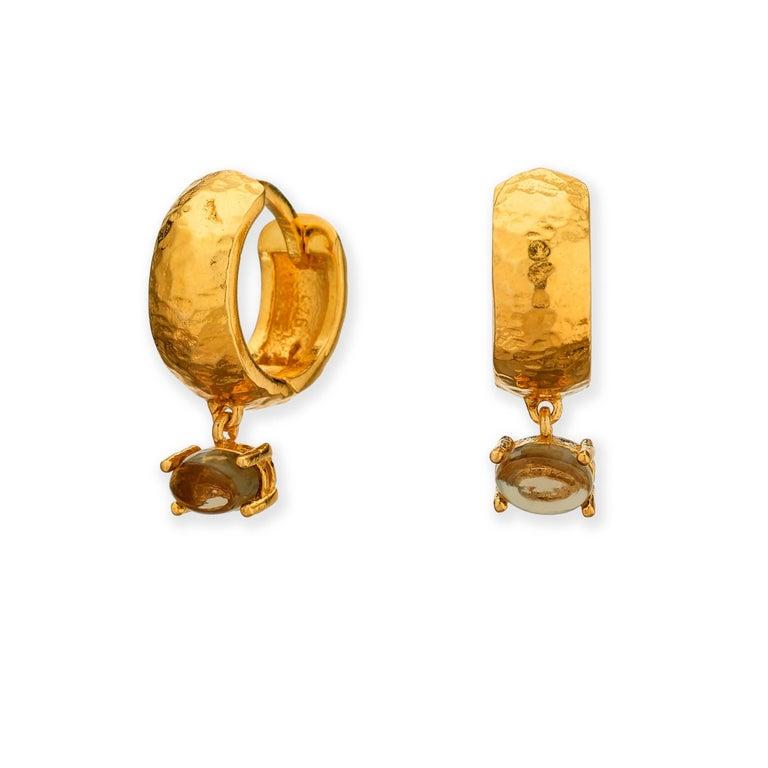 Maviada's White Rhodium Vermeil Bastia Mini Green Amethyst Modern Hoop Earring For Sale 7