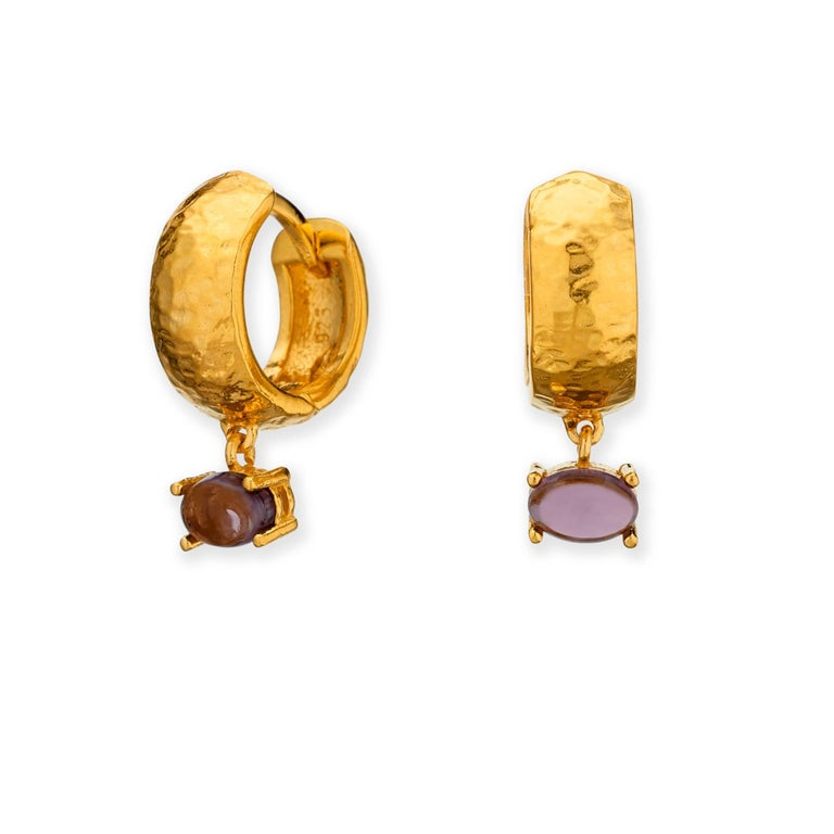 Maviada's White Rhodium Vermeil Bastia Mini Purple Amethyst Modern Hoop Earring For Sale 7