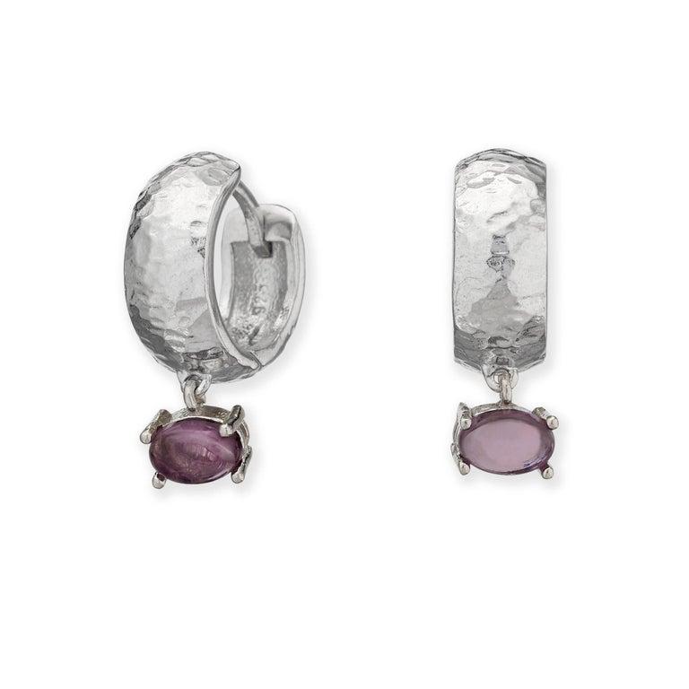 Maviada's White Rhodium Vermeil Bastia Mini Champagne Modern Hoop Earring For Sale 2