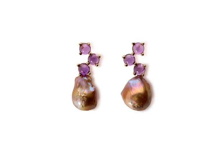 Women's Maviada's Cavallo Baroque Pearl Pink Tourmaline 18 Karat Gold Drop Earrings For Sale