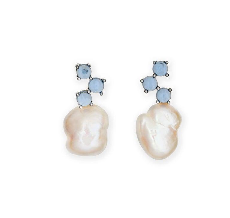 Contemporary Maviada's Cavallo Baroque Pearl Pink Tourmaline 18 Karat Gold Drop Earrings For Sale