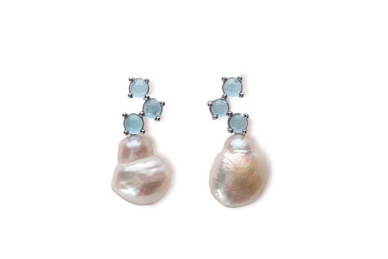 Maviada's Cavallo Baroque Pearl Pink Tourmaline 18 Karat Gold Drop Earrings For Sale 1