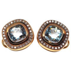 Fine Aquamarine 18k Gold Clip-On Earrings