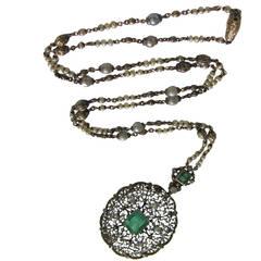 1930s Mario Buccellati Emerald Diamond Pearl Gold Necklace