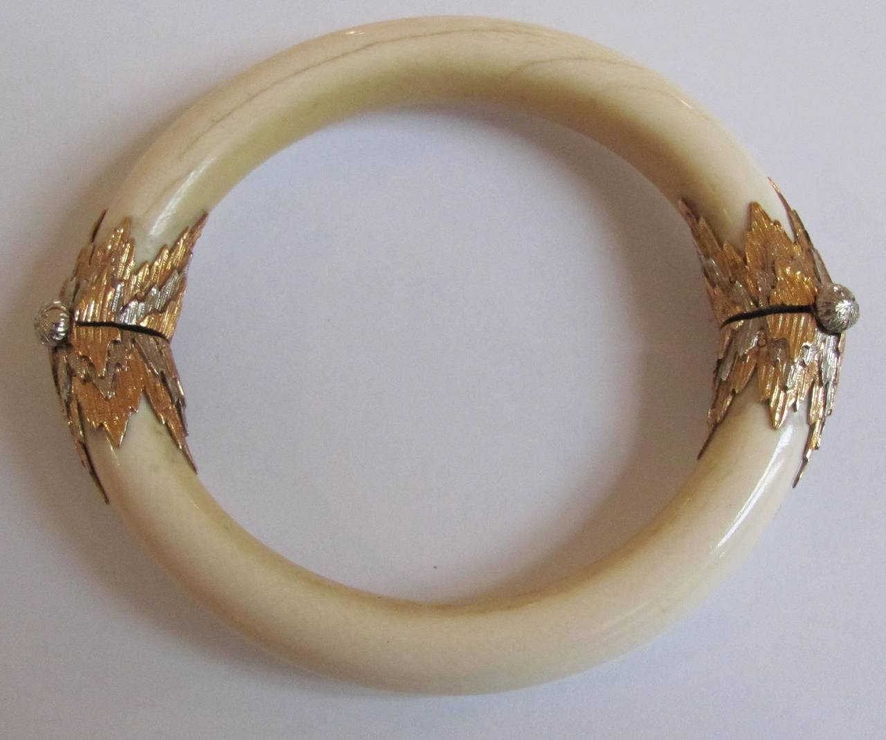 Art Deco 1930s Mario Buccellati Unique Ivory Gold Bracelets For
