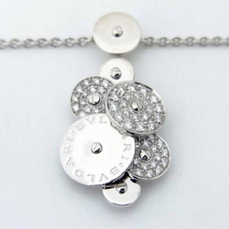 Made of 18k White Gold Hallmarks: Bulgari, 750, Made In Italy Stones: Diamonds Weight: 15.7 Grams Pendant Dimensions: 34mm in length (1.33) Necklace Length: Adjustable up to 18 Condition: Excellent