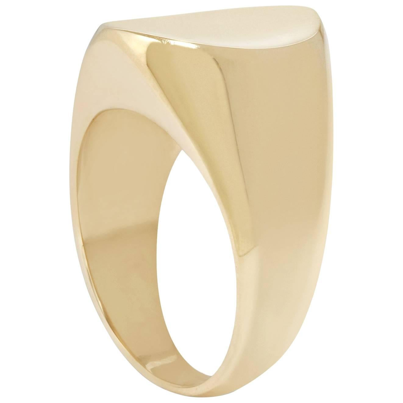 Concave Signet Ring in 18 Karat Gold by Allison Bryan