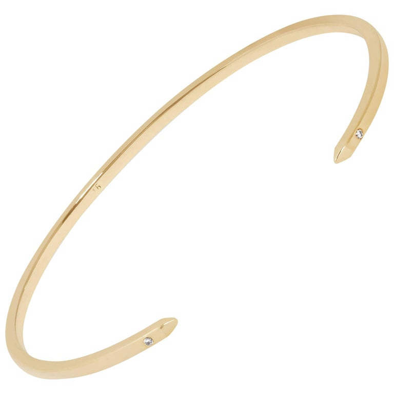 Cuff Bracelet in Yellow Gold with Diamonds by Allison Bryan For Sale
