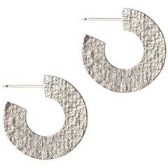 Textured Hoop Earrings in Silver by Allison Bryan