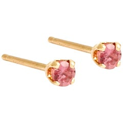 Tiny Pink Sapphire Studs by Allison Bryan, Pair