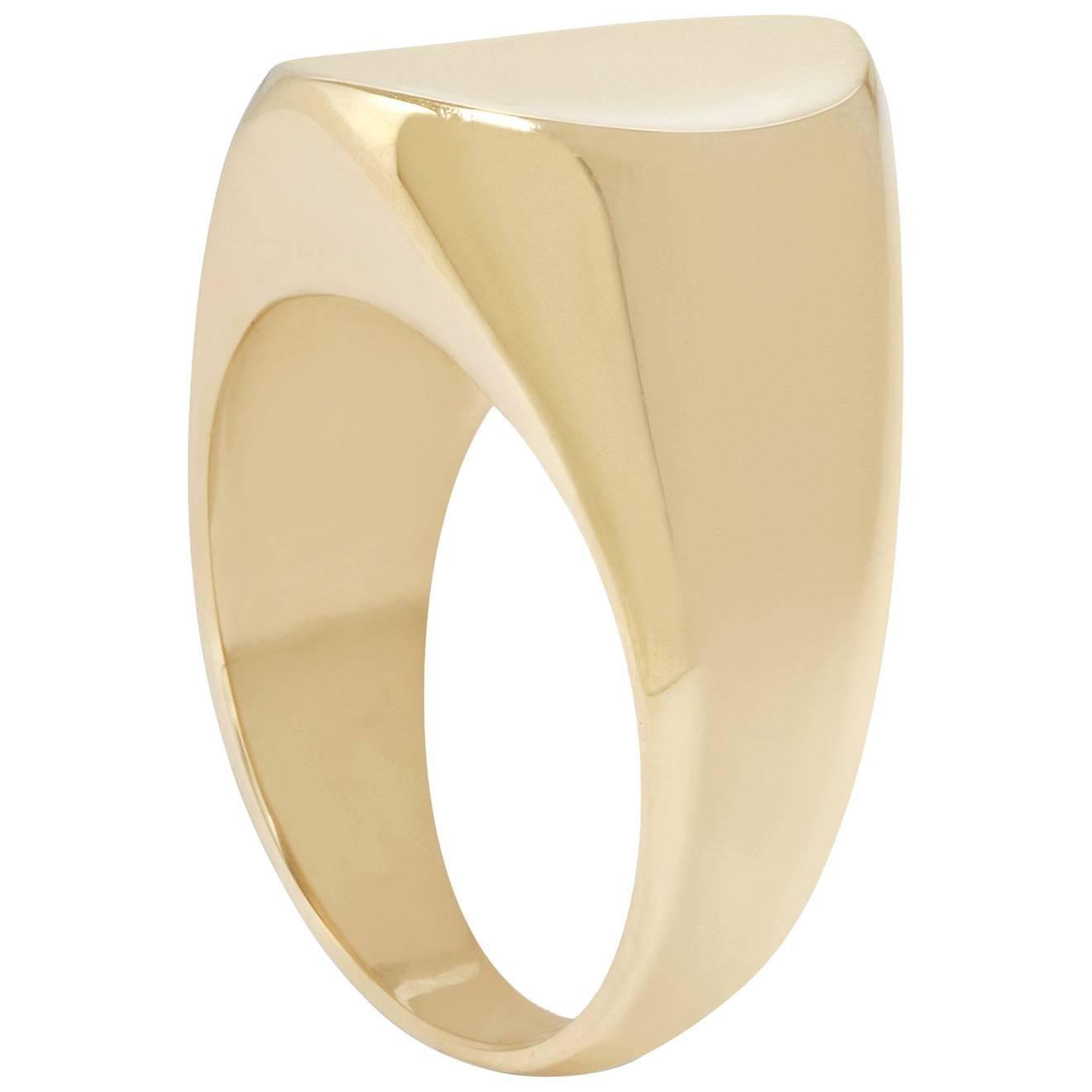 Concave Signet Ring in 9 Karat Gold by Allison Bryan