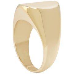 Concave Signet Ring in 9 Karat Gold by Allison Bryan