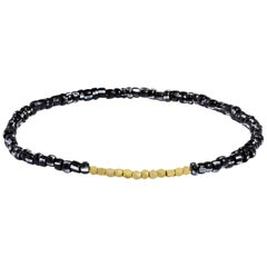 Men's Vintage Black and White Beaded Bracelet with Gold by Allison Bryan