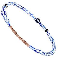 Men's Vintage Blue Mix Beaded Bracelet with Rose Gold by Allison Bryan