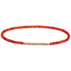 Vintage Dark Orange Beaded Bracelet with Rose Gold by Allison Bryan
