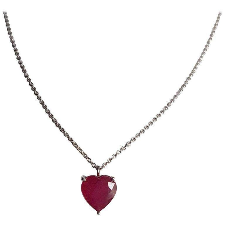 Ruby White Gold Pendant Necklace Wagner Collection