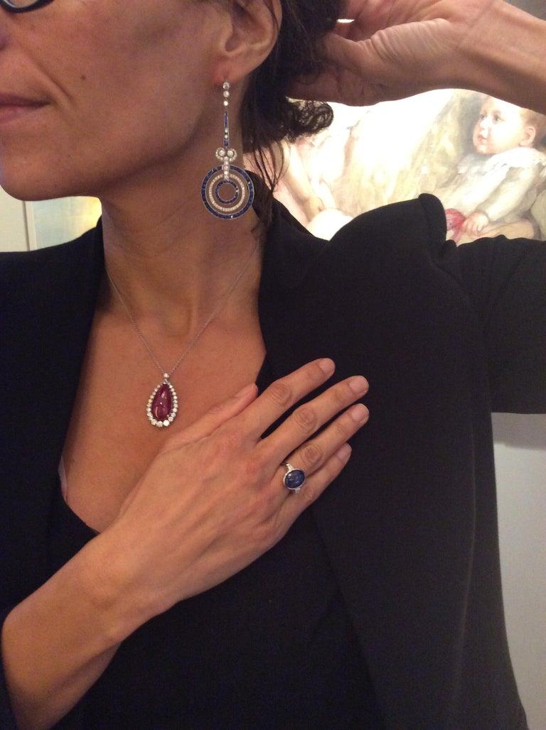 Sapphire Diamond Platinum Earrings For Sale 2