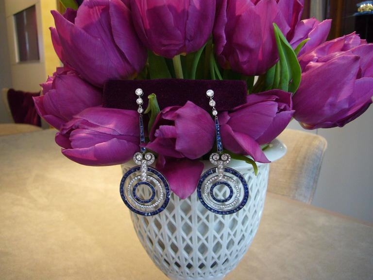 Women's  Sapphire Diamond Platinum Earrings For Sale