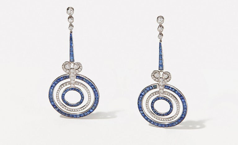 Sapphire Diamond Platinum Earrings For Sale 3