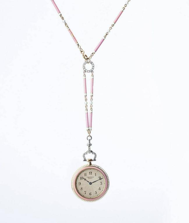 Cartier Belle Époque Platinum Gold Diamond Pearl Enamel Pendant-Watch Necklace 2