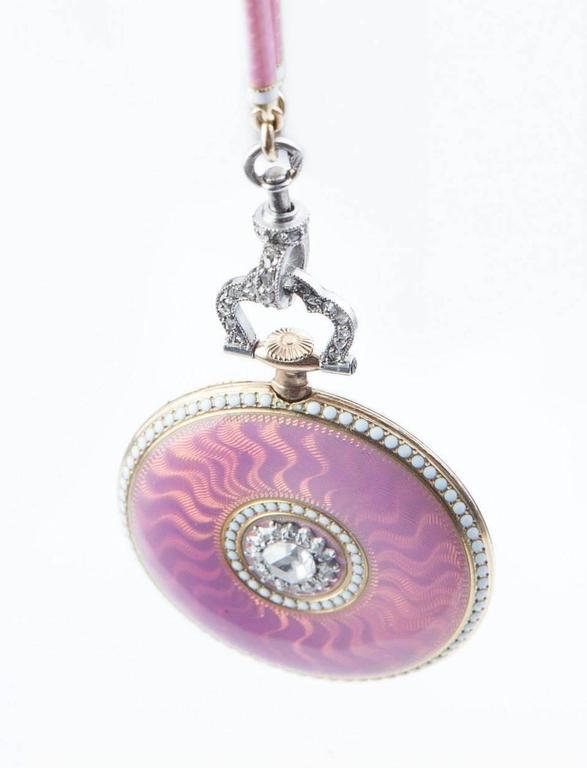 Cartier Belle Époque Platinum Gold Diamond Pearl Enamel Pendant-Watch Necklace 3