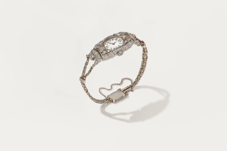Women's Audemars Piguet Ladies Art Deco Platinum Silver Diamond Wristwatch For Sale