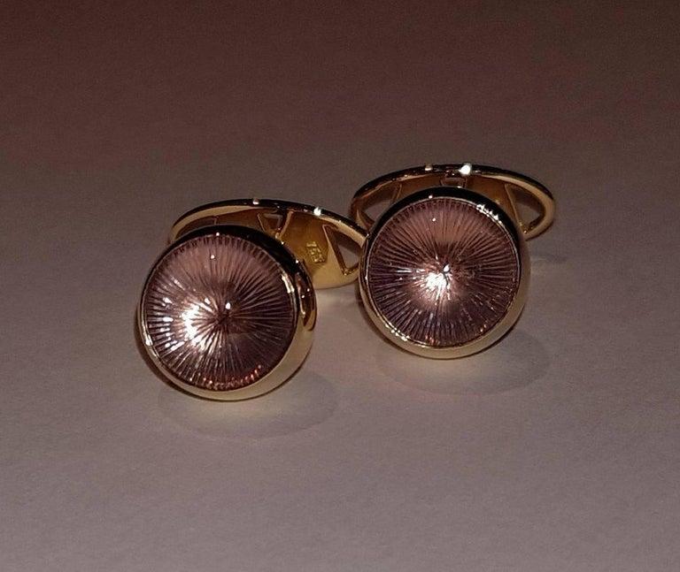 Cufflinks Gold with Amethyst Cabochons 3