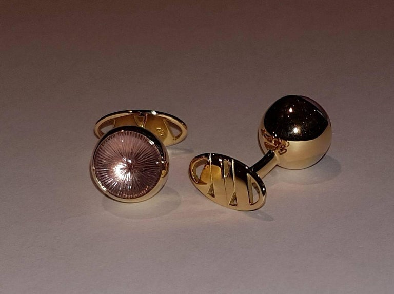 Men's Cufflinks Gold with Amethyst Cabochons For Sale