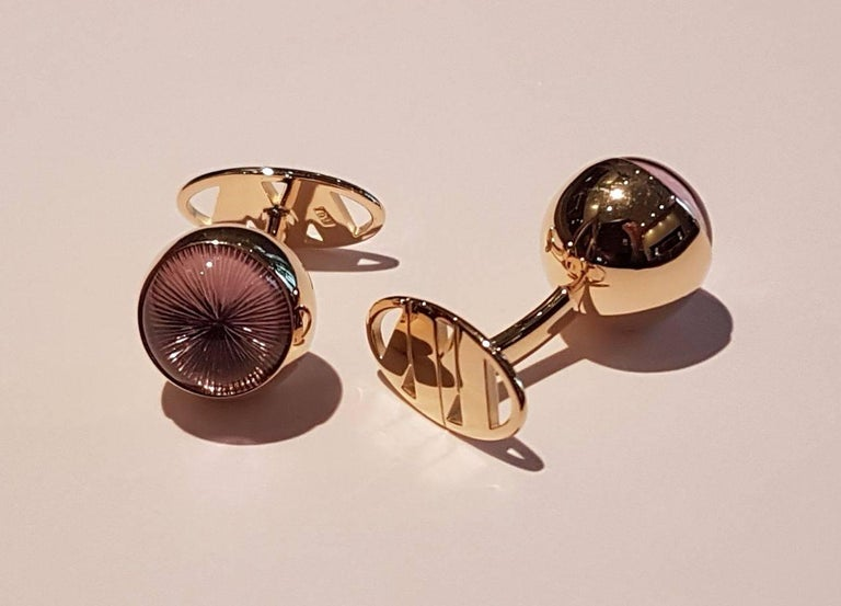 Cufflinks Gold with Amethyst Cabochons For Sale 1