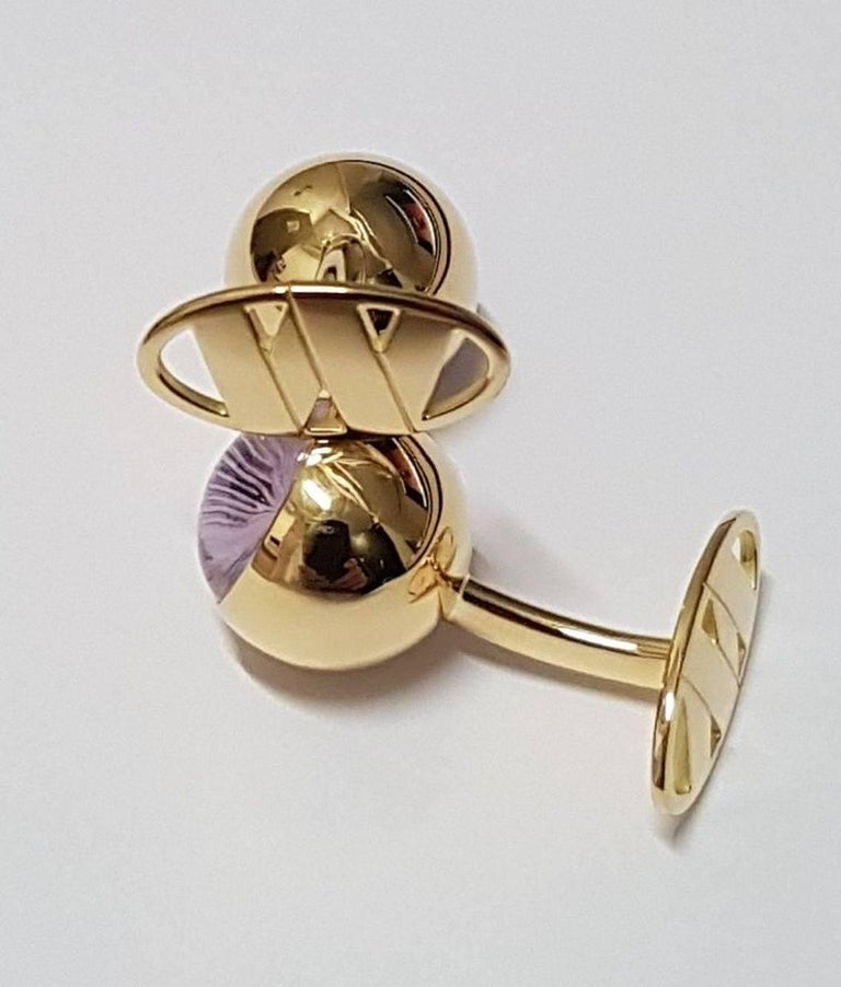 Cufflinks Gold with Amethyst Cabochons 9