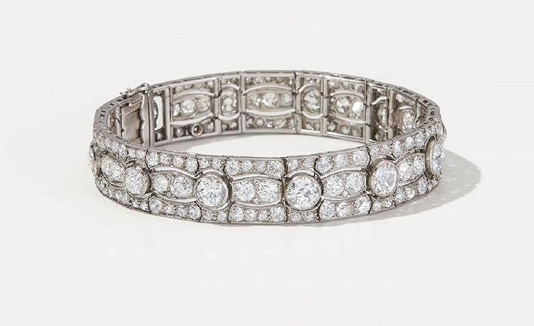 Art Deco Diamond Platinum White Gold Bracelet For Sale 1