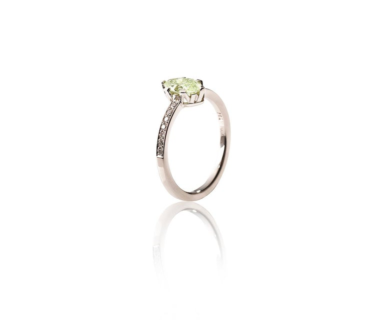 """Modern Ring, White Gold, Fancy Intense Yellow Green Diamond """"Wagner Collection"""" For Sale"""