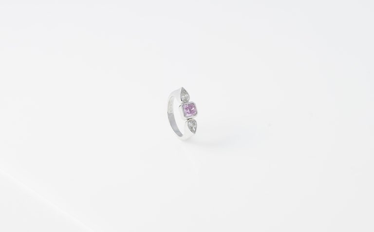 "Modern Ring, Platinum, Fancy Pink and White Diamonds ""Wagner Collection""  For Sale"
