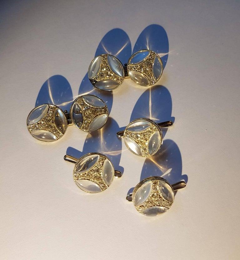 Chaumet Art Deco Dress Set, White Gold, Moonstone, Diamonds In Excellent Condition For Sale In Berlin, DE