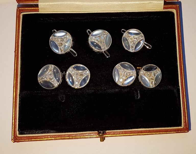 Men's Chaumet Art Deco Dress Set, White Gold, Moonstone, Diamonds For Sale
