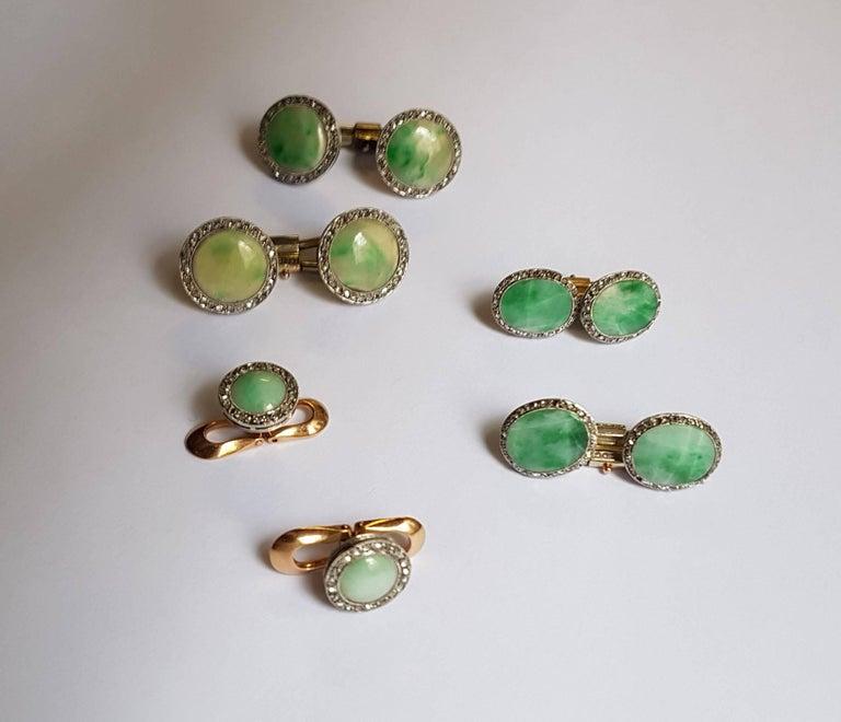 Art Deco Dress Set, Platinum, Gold, Jade, Rose Diamonds 3