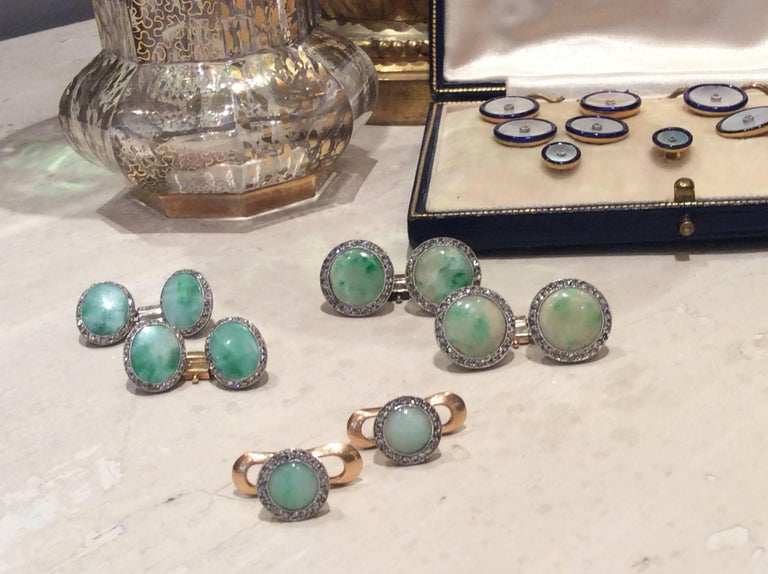 Art Deco Dress Set, Platinum, Gold, Jade, Rose Diamonds 4