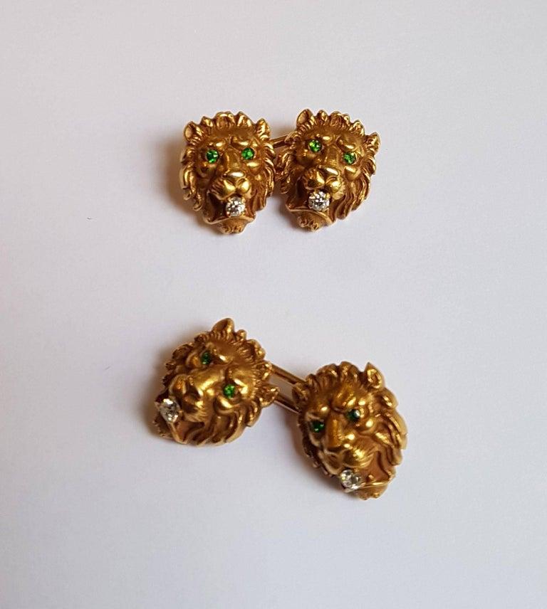 Victorian Lion Head Cufflinks, Gold, Emeralds, Diamonds 3