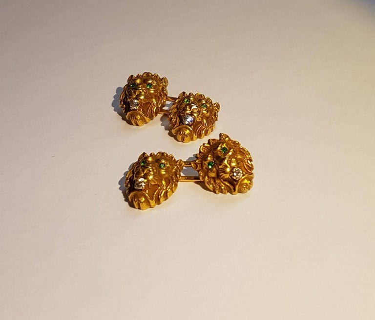 Victorian Lion Head Cufflinks, Gold, Emeralds, Diamonds 4