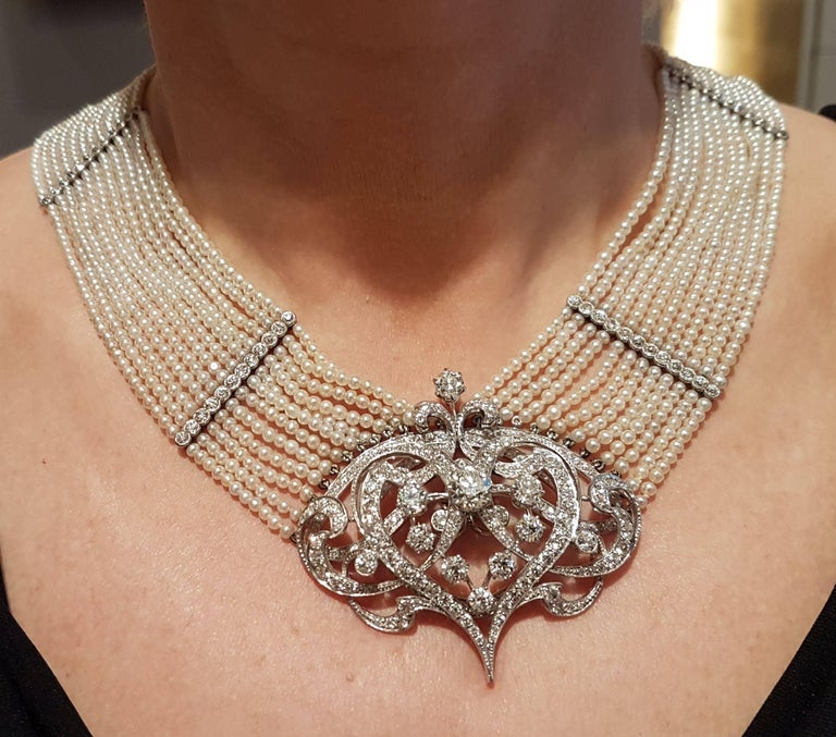 Jugendstil Seed Pearl and Diamond Choker For Sale