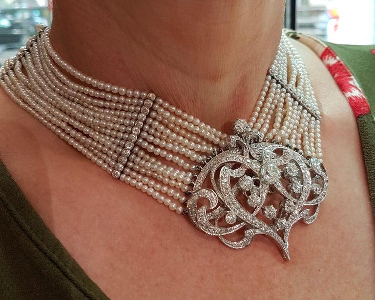 Seed Pearl and Diamond Choker For Sale 2