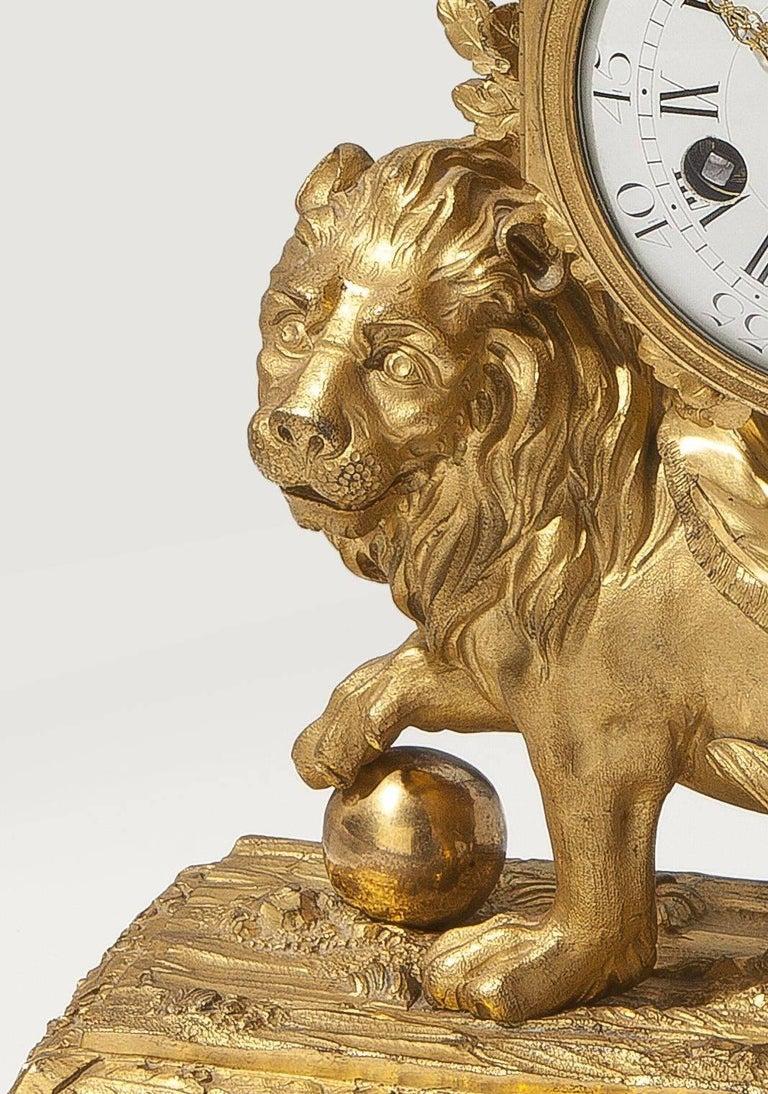 Baroque Louis XV Lion Mantle Clock Gilded Bronze, circa 1770 For Sale